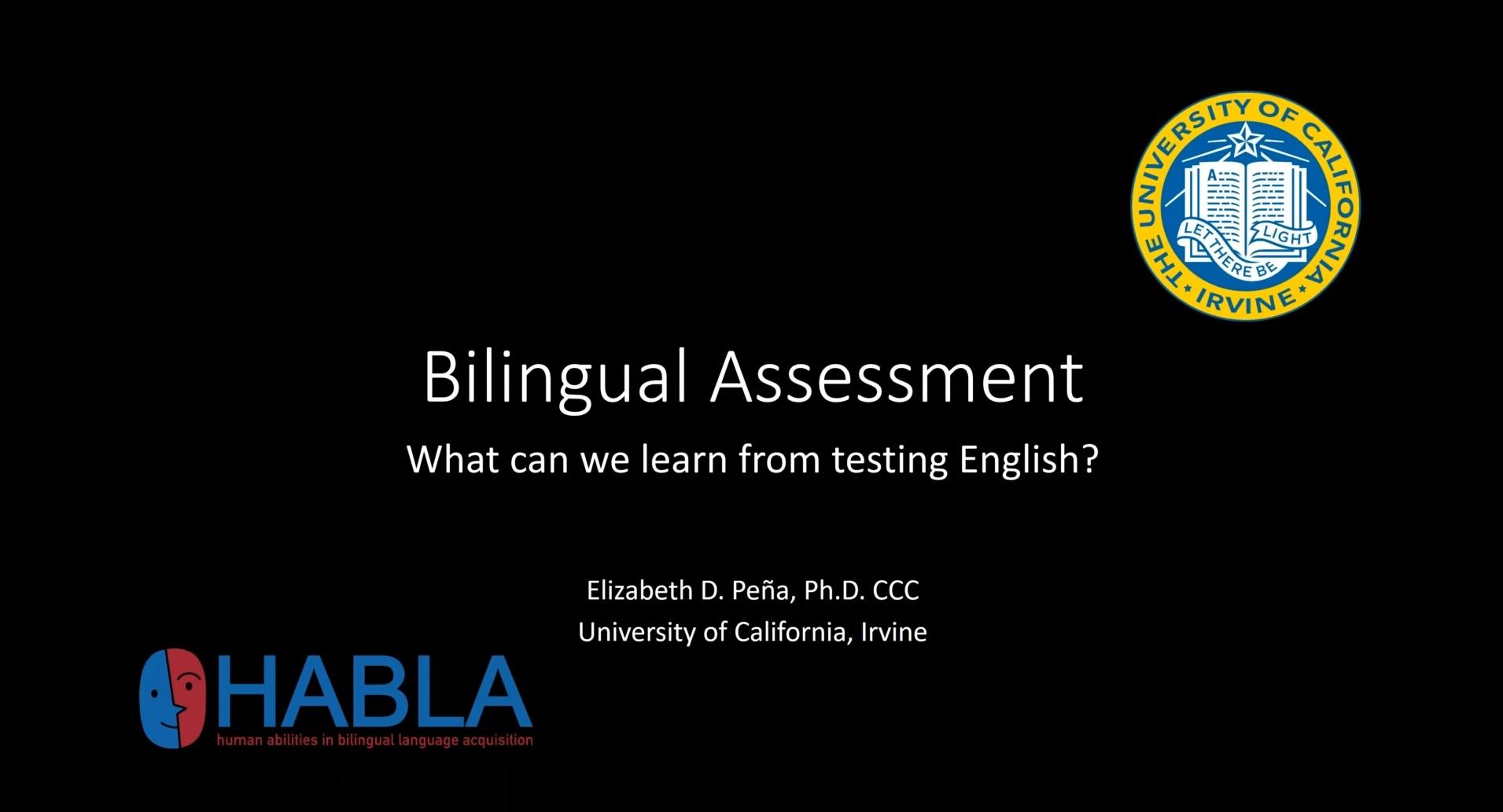 Bilingual Assessment webinar