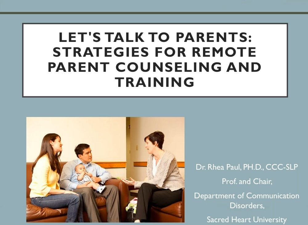 Let's Talk to Parents: Strategies for Remote Parent Counseling and Training webinar