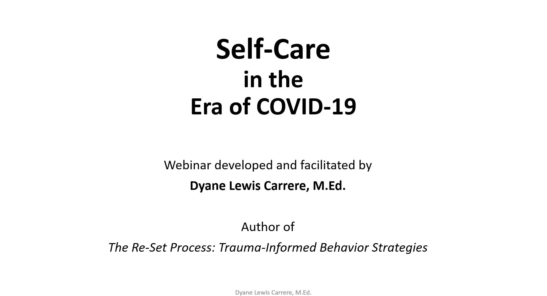 Self-Care in the Era of COVID-19 webinar